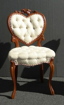 Vintage French Provincial Heart Shaped Tufted White Accent Chair ~ Signed