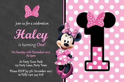 Personalised Minnie Mouse Birthday Party Invitation