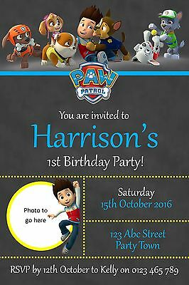 Personalised Paw Patrol Birthday Party Invitation