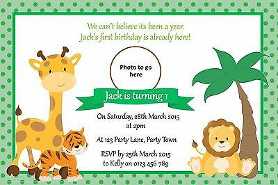 Personalised Jungle Themed Birthday Party Invitation