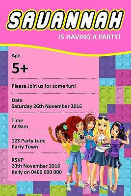 Personalised Girls Friends Lego Themed Birthday Invitation