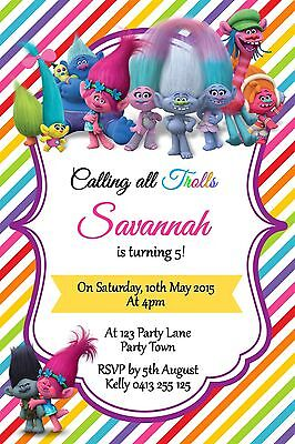Personalised Trolls Themed Birthday Party Invitation You Print