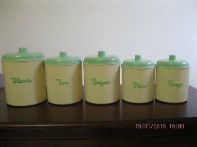 """Set Of 5 Retro """"eon"""" Brand Canisters, Green And Cream - No Offers Please!"""
