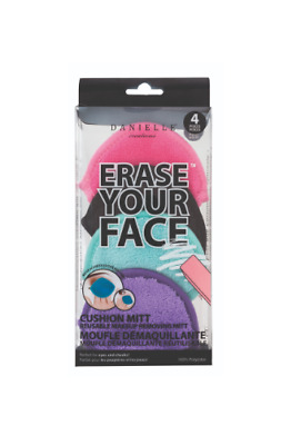 4-PACK Danielle ERASE YOUR FACE Reusable Makeup Removing Cushion Mitts