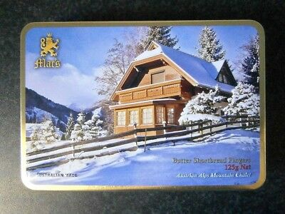 COLLECTABLE 125G MAC'S BISCUIT TIN with EMBOSSED AUSTRIAN ALPINE CHALET