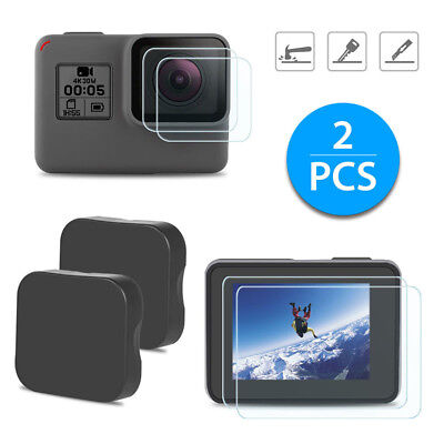 Black Ultra Clear Tempered Glass Screen + Lens Protector Cap for GoPro Hero 6 5