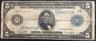 Series 1914 US $5 Five Dollar Federal Reserve Note Large Size Dist 7G Chicago