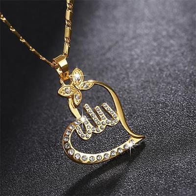 Jewelry Charm Crystal Pendant God Allah Muslim Islamic Necklace Heart Shape