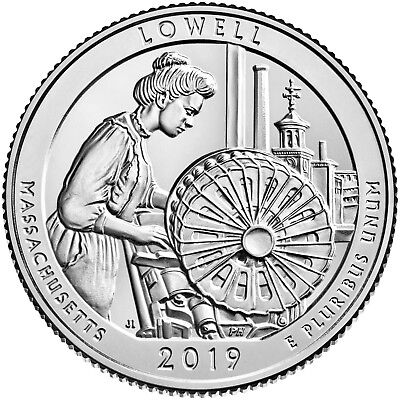 "2019 Lowell, Massachusetts ""atb"" National Park Quarter P+D 2-Coin Set Uncircircu"