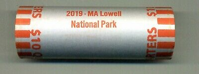 "2019 LOWELL, MASSACHUSETTS ""ATB"" NATIONAL PARK QUARTER BANK WRAP ROLL P or D"