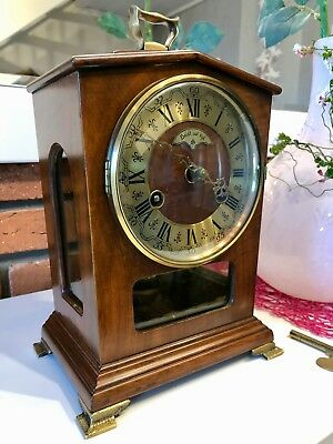 Beautiful Antique Original Dutch Mantel Bracket Clock With Chiming Up Two Bells