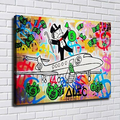 Alec Monopoly Graffiti Handcraft Oil Painting on Canvas MONEY Fly 24x36