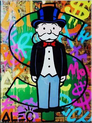 "Alec Monopoly Graffiti Handcraft Oil Painting on Canvas, ""Rich man"" 24x32"""