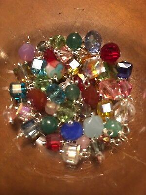 Jewelry Making Lot Of 20 Small Bead Drops Grab Bag Glass & Crystals
