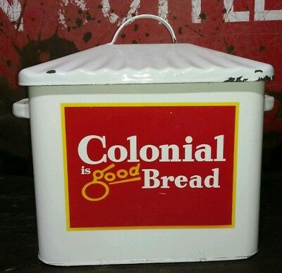 Porcelain Colonial Bread Box Advertising Bakery Advertising Sign Soda Coca-Cola