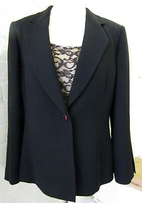 TAHARI UK12 black and nude lace jacket and top set evening outfit