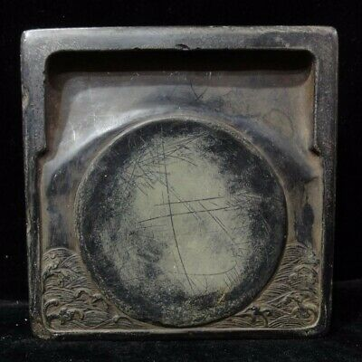 """Unique Old Chinese Hand Carving """"Duan"""" Black Square Ink Stone Marks"""