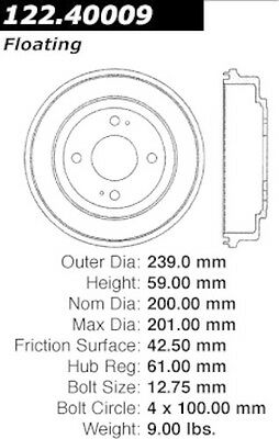 Centric Parts 122.40009 Rear Brake Drum