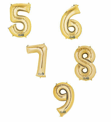 Giant Gold Birthday Foil Age Number Balloons 50th 60th 65th 70th 75th 80th 90th