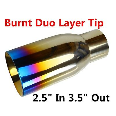 "2.5"" In 3.5"" Out Blue Burnt Exhaust Duo Layer Tip Polished Stainless Steel"