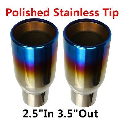 """2X Blue Burnt Exhaust Duo Layer Tip Polished Stainless Rolled Edge 2.5""""In3.5""""Out"""