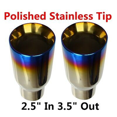 "2PCS 2.5"" In 3.5"" Out Blue Burnt Exhaust Duo Layer Tip Polished Stainless Steel"