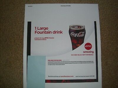 AMC Movie Theater - 6 Large Fountain Drink & 4 Large Popcorn Expire 6/30/20