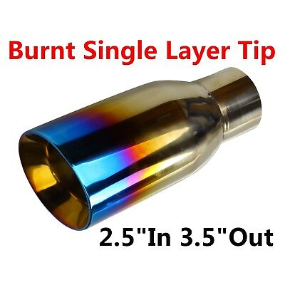 """2.5""""In 3.5""""Out Blue Burnt Exhaust Pipe Tip Duo Layer Slant Polished Stainless"""