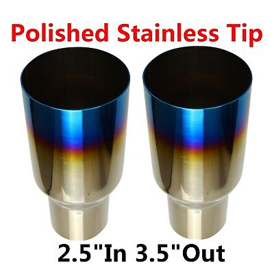 "2pcs 2.5""In 3.5""Out Polished Stainless Steel Blue Burnt Exhaust Single Layer Tip"