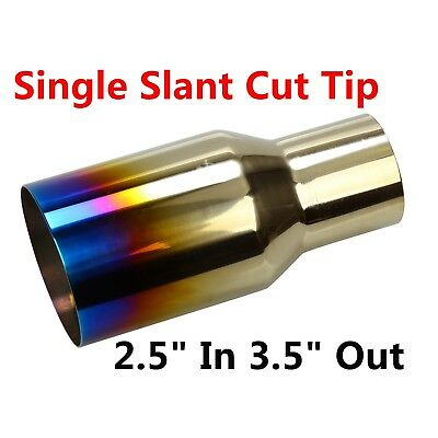"""2.5"""" 3.5"""" Out Burnt Exhaust Single Slant Cut Tip Polished Stainless Blue"""