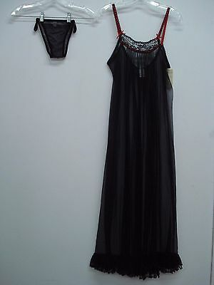 NWT S&G For Escante See Thru Gown w/ Panty Size Small Black/Red #460C