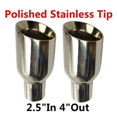 "2X 2.5""In 4""Out Polished Stainless Exhaust Duo Layer Slant Cut Tip Sliver New"