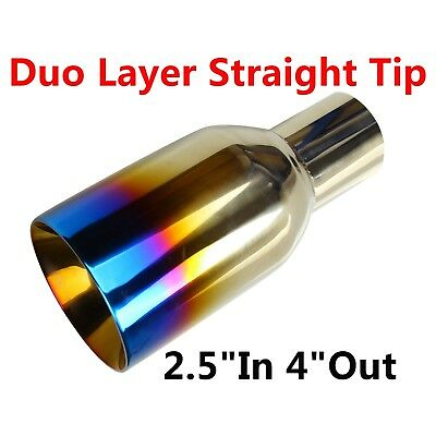 """Blue Burnt Exhaust Duo Layer Straight Tip Polished Stainless 2.5""""In 4""""Out"""