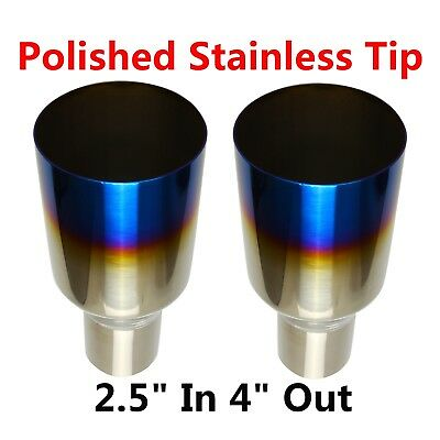 """2X 2.5""""In 4""""Out Blue Burnt Exhaust Single Layer Straight Tip Polished Stainless"""
