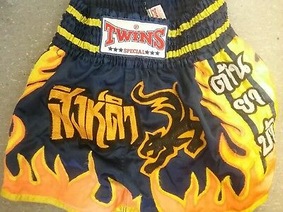 Twins Special Muay Thai, Thai Boxing shorts blue yellow size large