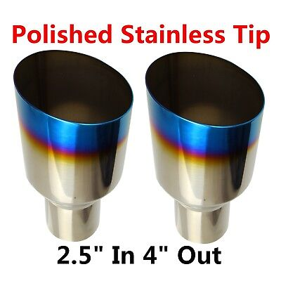 "2X Blue Burnt Exhaust Single Layer Slant Tip Polished Stainless 2.5""In 4""Out"