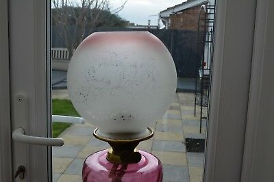 Victorian / Edwardian style   oil lamp shade etched cranberry tip