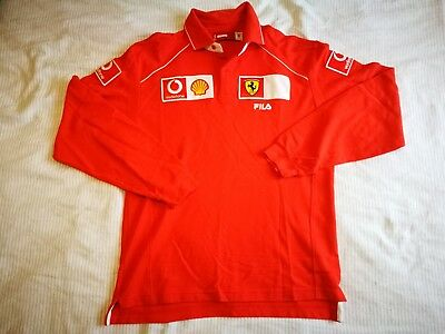 Ferrari Puma Team Long sleeve Polo Shirt Schumacher, medium, good condition