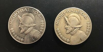 Panama 1930 and 1933  1/2 Balboa Silver Coins: Better Years! High Catalog Value