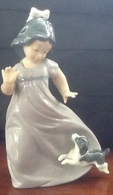 Lladro Nao Little Girl Playing With Puppy Figurine.