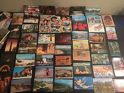 Lot of 57 Vintage Postcards With 1,2,3,6,8,9,10 Ext Cent Stamps on Them