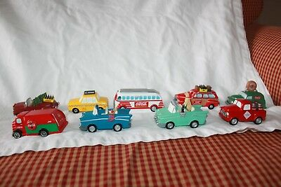 vintage- lot of 9 Coca Cola Town Square Collection table top ornament vehicles