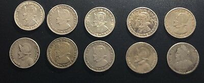 Panama Lot Of Ten 5 & 10 Cent Balboa Silver Coins: Mixed Years