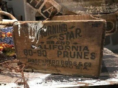 Old Wooden Box Morning Star Prunes Antique Wooden Box Advertising Primitive