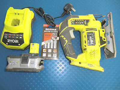 Ryobi R18JS-0 One+ 18V Jigsaw with Flush Cut + 4.0Ah Battery, Charger & Blades