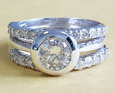 2Ct Round Forever Brillaint Moissanite Engagement Ring and Bands In 925 Silver