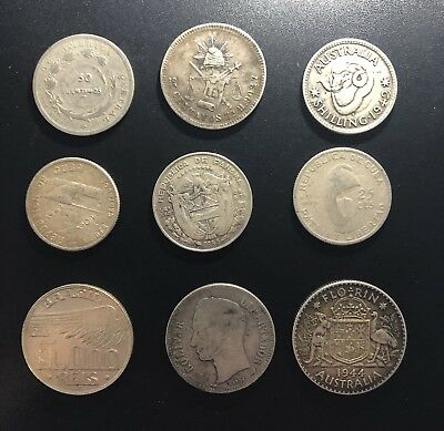 Lot of Nine World Silver Coins (Quarter Size and Large): Mixed Countries