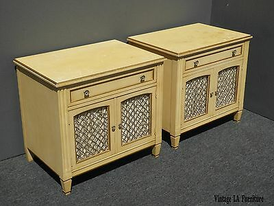 Pair of Vintage Kindel French Country Cottage Cream Nightstands