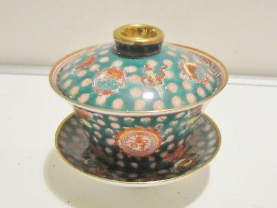 Chinese Porcelain Lidded * BOWL * with Saucer in GREEN / Signed