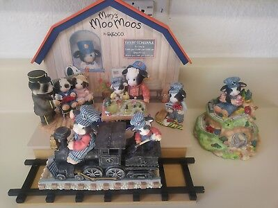 Mary's Moo Moos Figurines Lot Of 6 Lionel Train set and display